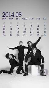 待受カレンダー 2014年8月(モノクロ)
